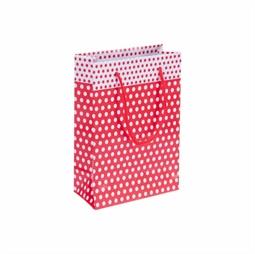 Resim Kırmızı Puantiyeli Karton Çanta 14x17cm 25'li