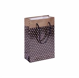 Resim Altın Puantiyeli Siyah Karton Çanta 11x16cm 25'li